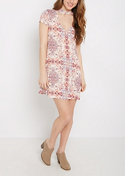 Boho Medallion Keyhole Swing Dress