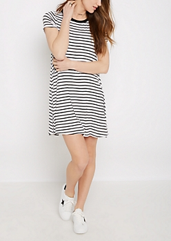 Black Striped Ringer Dress