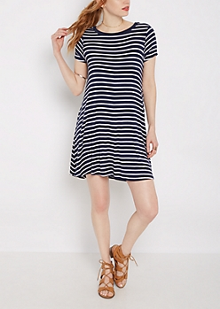 Navy Striped Ringer Dress
