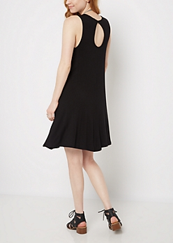 Black Keyhole Tank Swing Dress