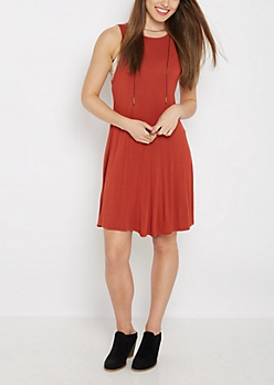 Burnt Orange Keyhole Tank Swing Dress