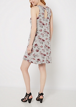Floral Keyhole Tank Swing Dress