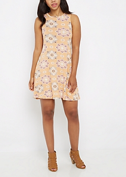 Blooming Medallion Keyhole Tank Swing Dress