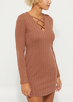 Brown Hacci Rib Knit Lattice Dress
