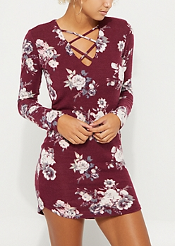 Burgundy Floral Hacci Lattice Dress