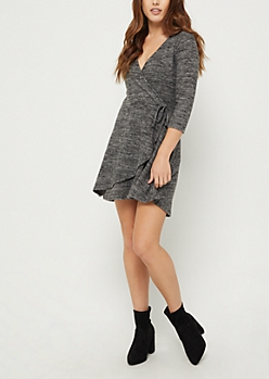 Charcoal Gray Hacci Wrap Dress