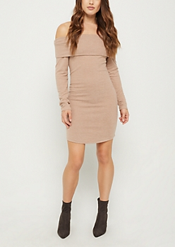 Camel Off Shoulder Sweater Bodycon Dress