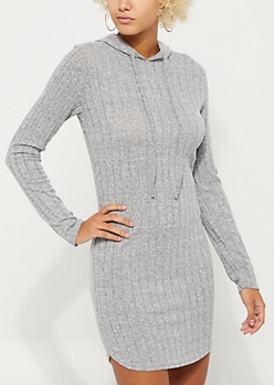 Heather Gray Hacci Rib Knit Hooded Dress