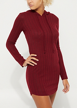 Burgundy Hacci Rib Knit Hooded Dress