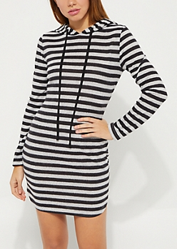 Black Striped Hacci Hoodie Dress