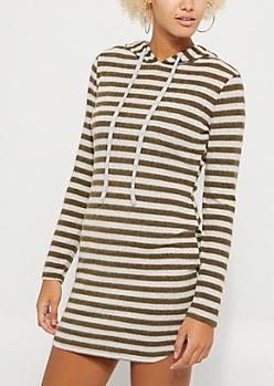 Olive Striped Hacci Hoodie Dress