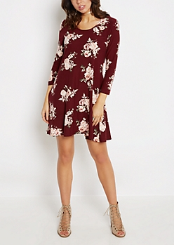 Burgundy Pink Rose Soft Swing Dress