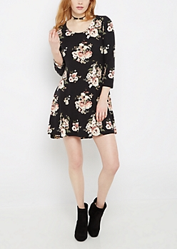 Black Pink Rose Soft Swing Dress