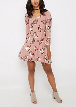 Dusty Pink Rose Soft Swing Dress