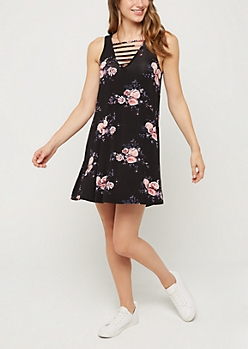 Rose Bouquet Cage Strapped Dress