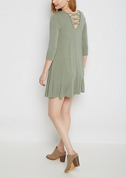 Olive Lattice Back Knit Swing Dress