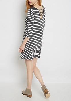 Striped Lattice Back Knit Swing Dress