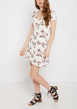 Pink Rose Keyhole Swing Dress