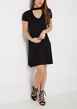 Black Keyhole Short Sleeve Swing Dress