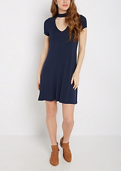 Navy Keyhole Swing Dress