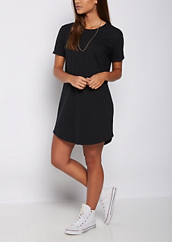 Black Cuffed T Shirt Dress