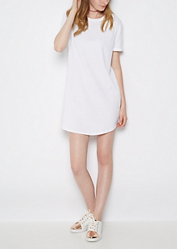 White Cuffed T Shirt Dress