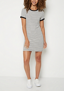 Striped Ringer T Shirt Dress