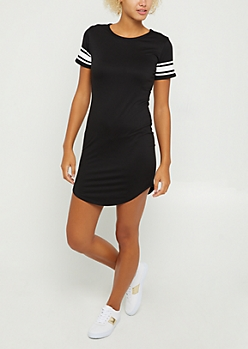 Black Athletic Striped T Shirt Dress