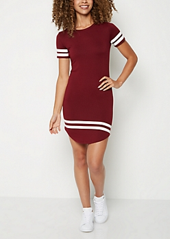 Burgundy Athletic Striped T Shirt Dress
