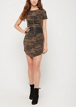 Slay All Day Camo T Shirt Dress