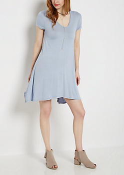 Light Blue Keyhole Swing Dress