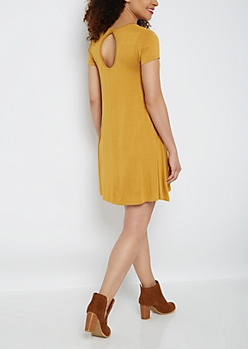 Mustard Keyhole Swing Dress