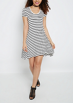 Pencil Striped Keyhole Swing Dress