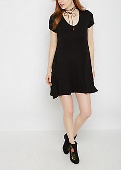 Black Keyhole Swing Dress