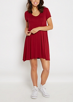 Burgundy Keyhole Swing Dress