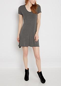 Heather Gray Keyhole Swing Dress