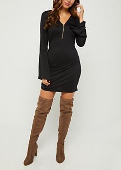 Black Zip Down Bell Sleeve Dress
