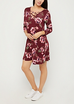 Burgundy Floral Lattice Yoke Swing Dress