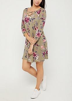 Olive Floral Lattice Yoke Swing Dress