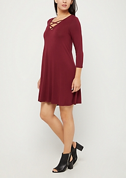 Burgundy Lattice Yoke Swing Dress
