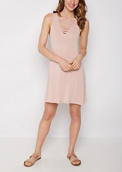 Pink Caged V-Neck Swing Dress