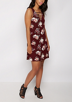 Burgundy Wildflower Caged Swing Dress