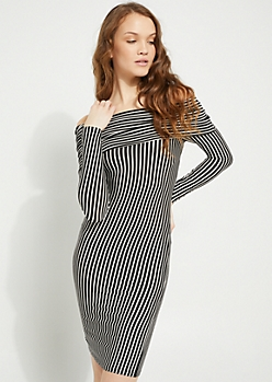 Black Striped Foldover Off Shoulder Bodycon Dress