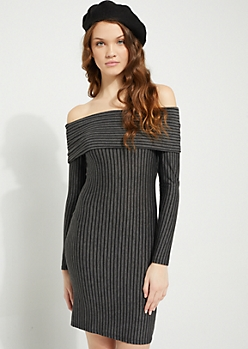 Gray Striped Foldover Off Shoulder Bodycon Dress