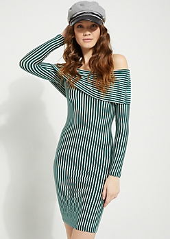 Green Striped Foldover Off Shoulder Bodycon Dress