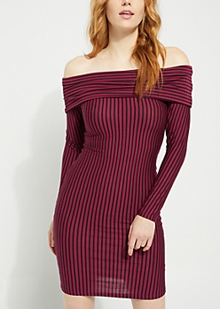 Burgundy Striped Foldover Off Shoulder Bodycon Dress