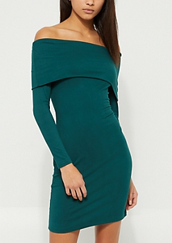 Teal Foldover Off Shoulder Bodycon Dress