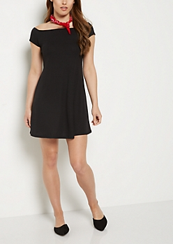 Black Ribbed Off Shoulder Swing Dress