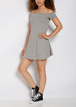 Gray Ribbed Off Shoulder Swing Dress