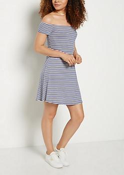 Navy Striped Ribbed Off Shoulder Swing Dress